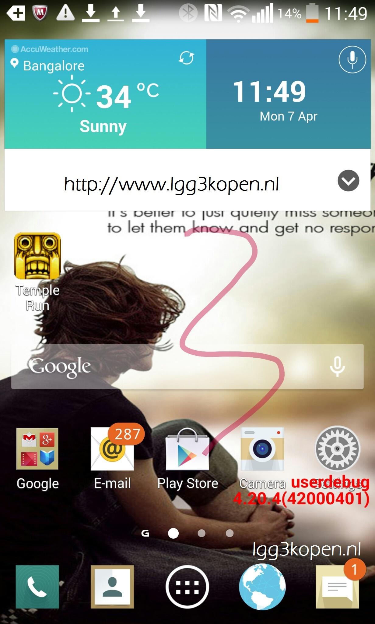 LG G3 KitKat Screenshot