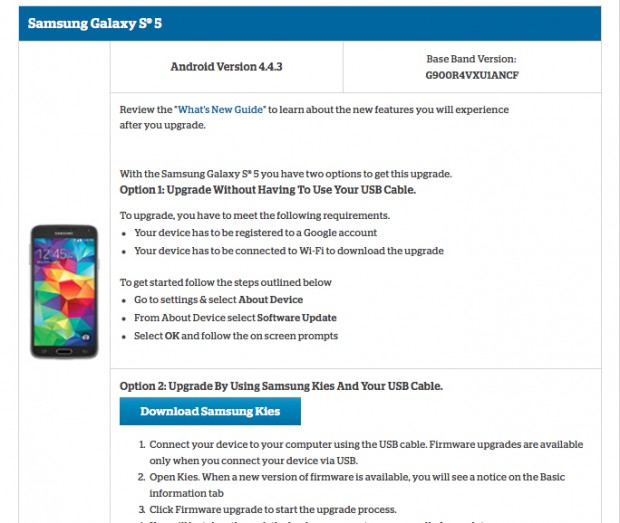 Samsung S5 Support Page