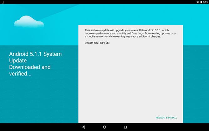 Nexus 10 5.1.1 lollipop update