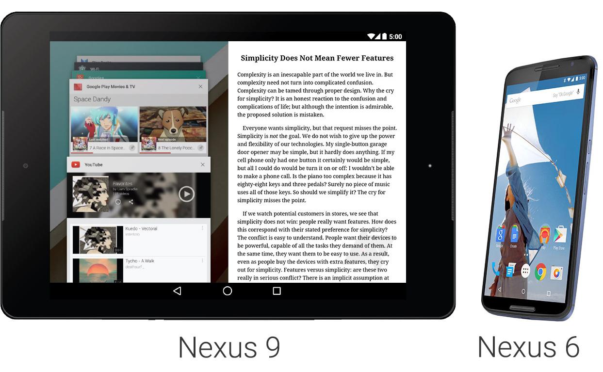 Nexus 9 - Nexus 6