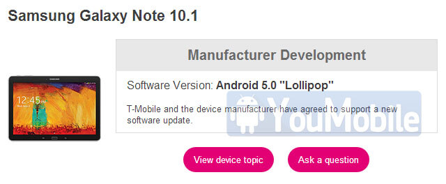 Galaxy Noe 10.1 2014 edition official Lollipop 5.0.2