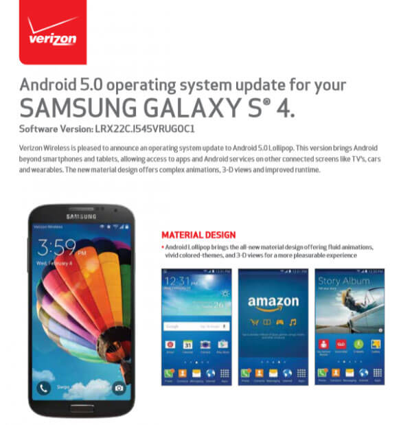 Galaxy S4 verizon lollipop update 5.0.1